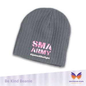 SMA Army Grey Beanie Pink Logo