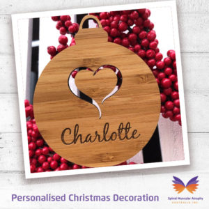 SMA Personalised Heart Bauble Christmas Decoration